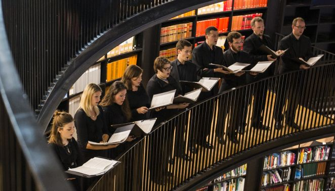 EC Consort in library rotunda - cropped credit Andrew Fox