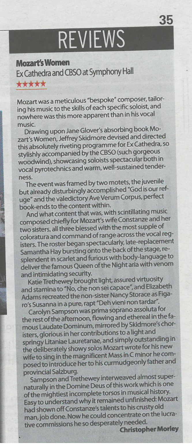 Mozart's Women - Bham Post review cropped